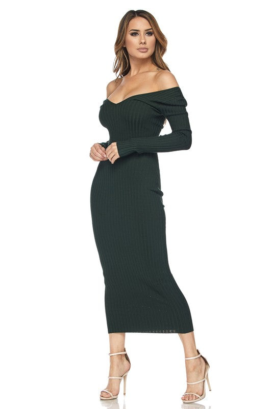 Off Shoulder V Neck Sweater Knit Dress