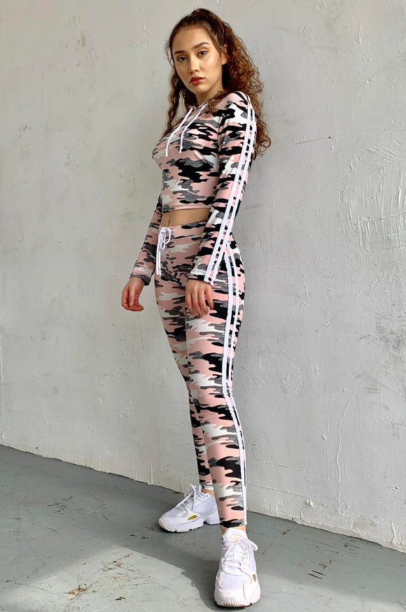 UVMF-J011Y-LS -  Long Sleeve Camo Print Active Stripe 2 Piece Set-$12