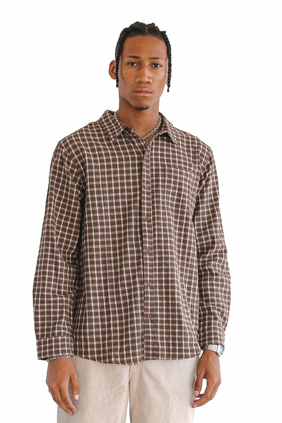 DOBBY WOVEN STRIPE LONG SLEEVE SHIRT - $16