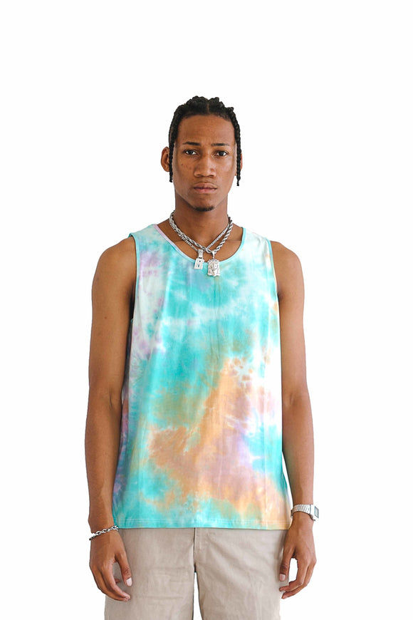 TIE DYE STRETCH TANK TOP - ORANGE - $8