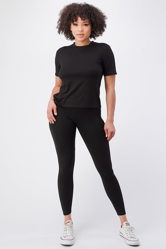 Solid T-shirt w/ Leggings Set - DSP