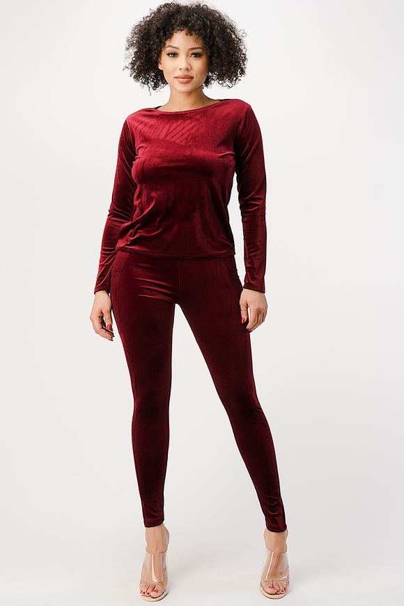 Velvet Full Sleeve with Leggings - DSP