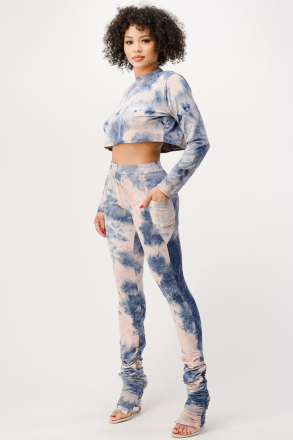 Tie-Dye Crop Top and Scrunched Leggings - $16.50