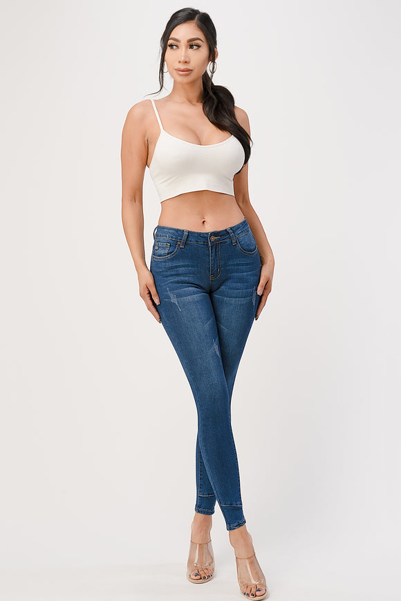Ankle Stitch Mid Wash High Waisted Jeans - $9.50