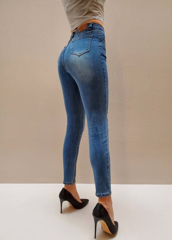 Mid Wash High Waisted Jeans - $9.50