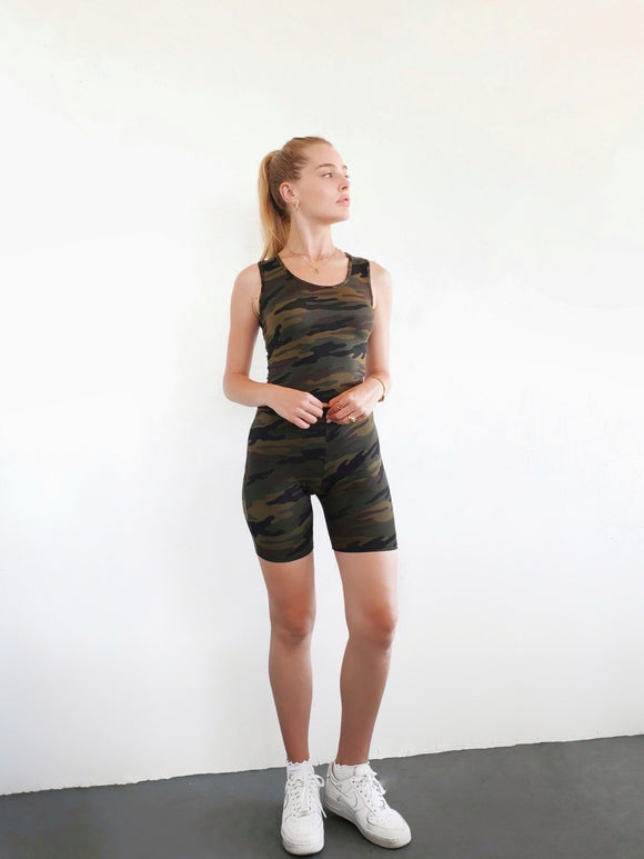 Camo Cropped Tank with Biker Shorts Set - $8.50