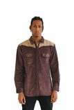 WESTERN CUT CURDROY UTILITY SHIRT IN BROWN - $18