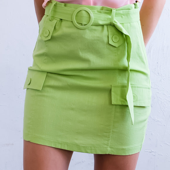 P530 - High Waist Utility Mini Skirt - $13.50