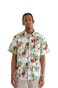 Tropical Red Floral Print Short Sleeve Shirt - $11.5