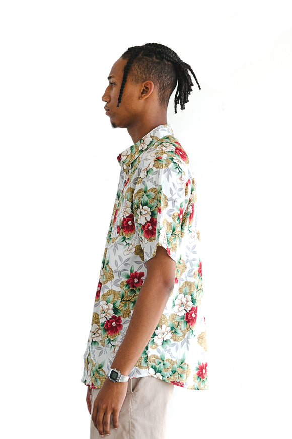 Tropical Red Floral Print Short Sleeve Shirt - $14
