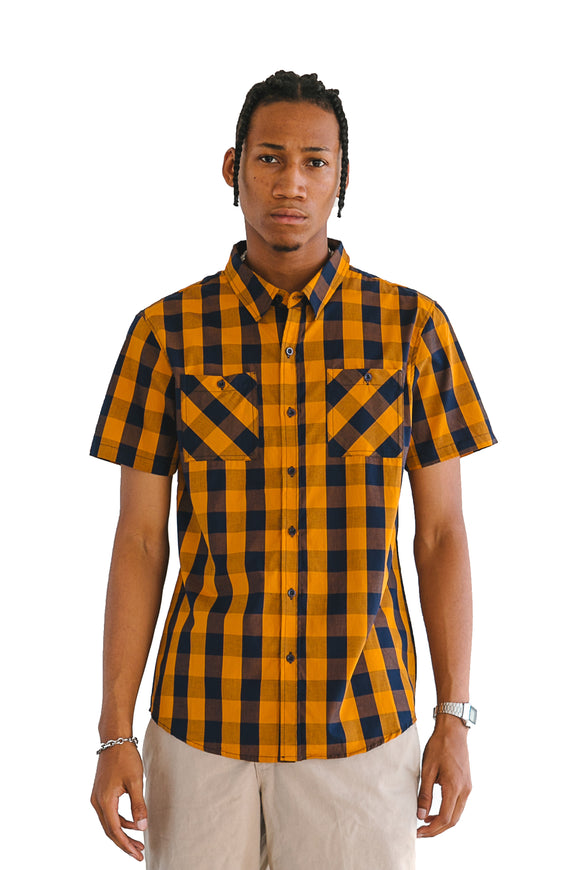 MUSTARD BUFFALO PLAID SHORT SLEEVE