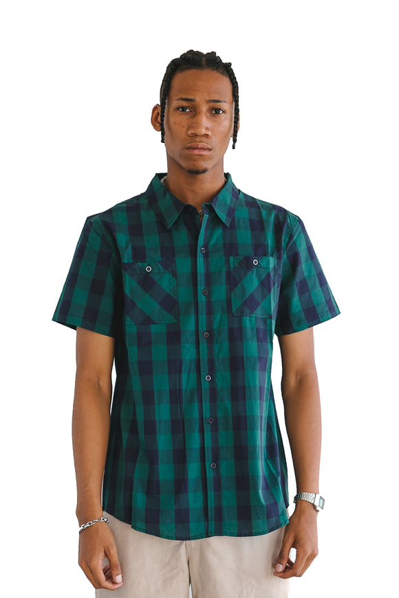 HUNTER GREEN BUFFALO PLAID SHORT SLEEVE - $14