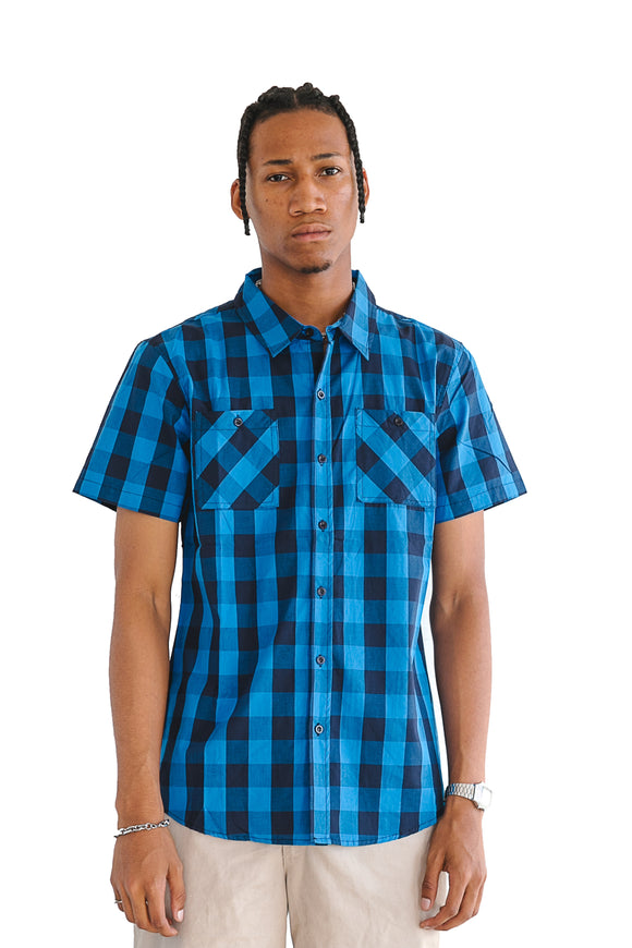COBALT BUFFALO PLAID SHORT SLEEVE - $14
