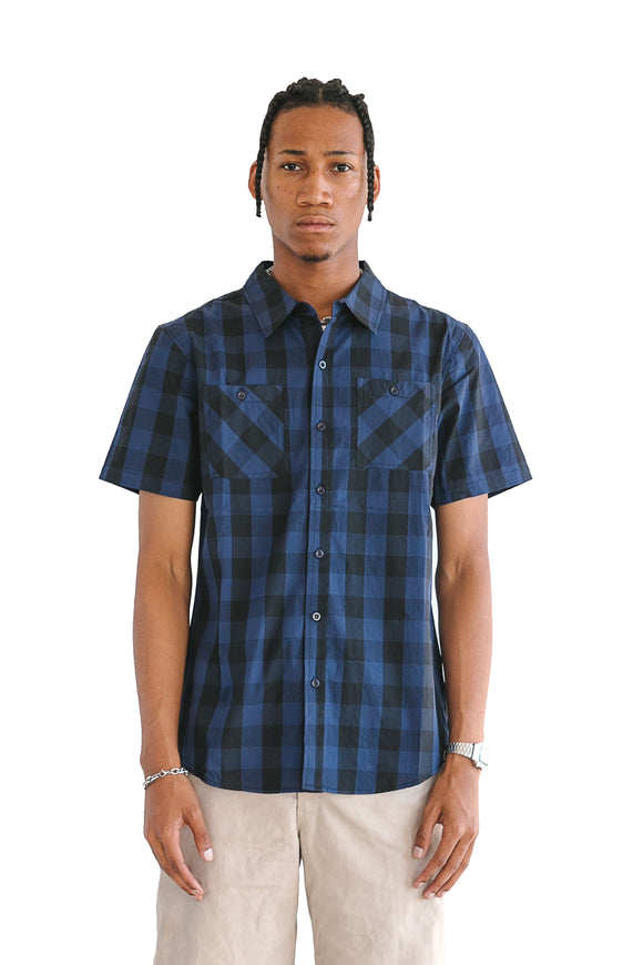 NAVY BUFFALO PLAID SHORT SLEEVE - $14