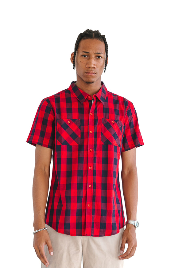 RED BUFFALO PLAID SHORT SLEEVE - $14