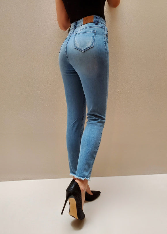 High Waisted Destressed Jeans - $9.50