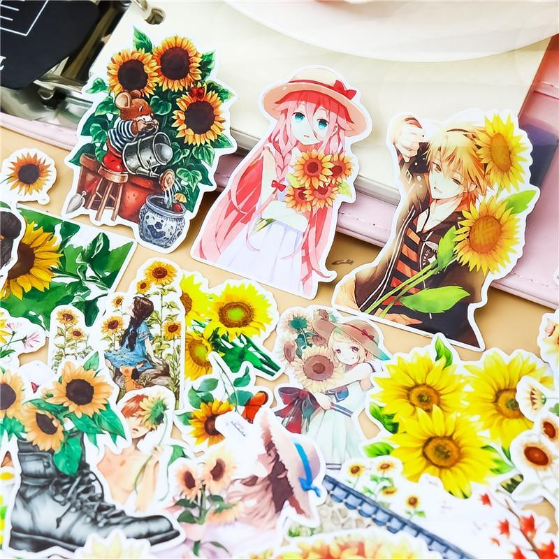 Anime Mori Sunflower Girl Scrapbook Stickers - Asmr geek