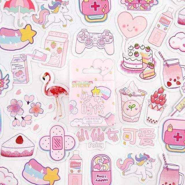 Japan Pink Girl Retro Kawaii Stickers - Asmr geek