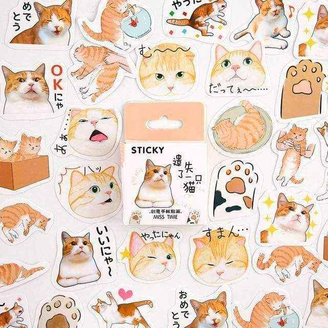 Japan Silly Cat Face Stickers - Asmr geek