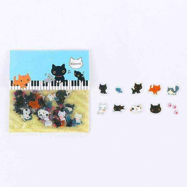 Japanese Cat Stationery Sticker Set - Asmr geek