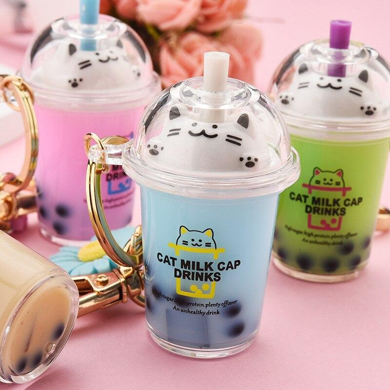 Kawaii Cat Bubble Tea Liquid Keychains - Asmr geek