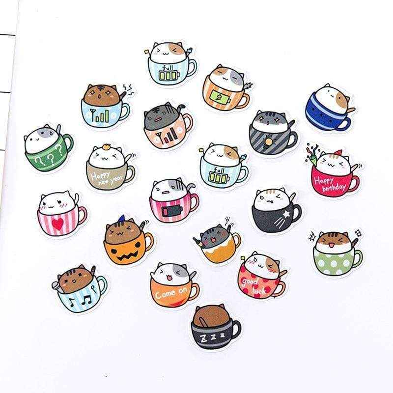 Kawaii Cat in a Mug Stickers - Asmr geek
