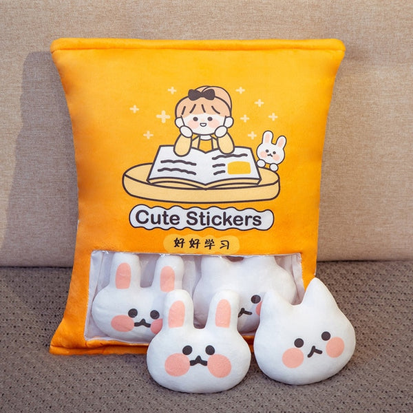 Cute Stickers Rabbit Plushie Bag - Asmr geek