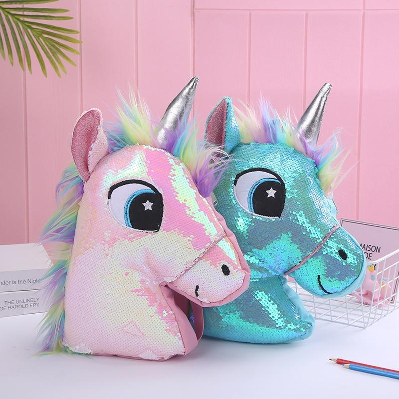 Reversible Sequin Kawaii Unicorn Head Backpack - Asmr geek