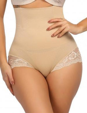 Body Shaper High Waist Plus Size High Elasticity Nude Scalloped Lace Shaping Panty 1