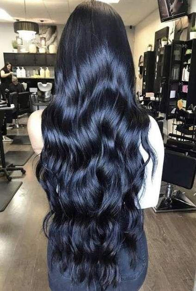 High quality lace front wig black long wave wig natural hairline4