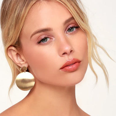 Golden Glamorous Sexy Circle Earrings