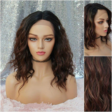 Wavy Dark Brown Lace Front Wig, Dark Roots, Curly Wig, Heat Safe, For everyday use, Cosplay, Chemo Wig