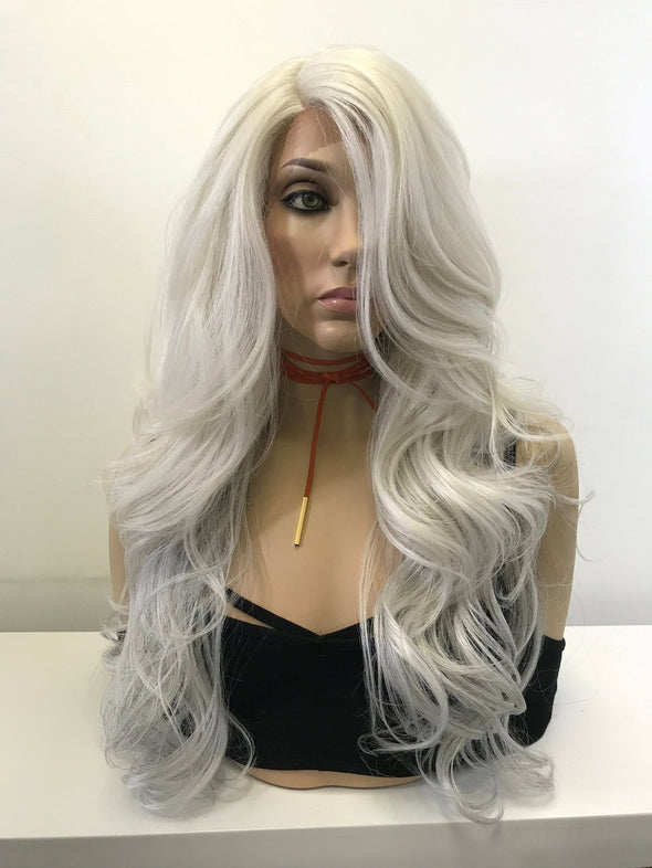 "Silver Gray Loose Curls Hair Lace Front Wig 18"" Stephanie"