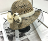 Hat Nuxia, European and American sunscreen straw hat, bow bow hat, Korean folding sunshade hat, net yarn, tide fisherman hat
