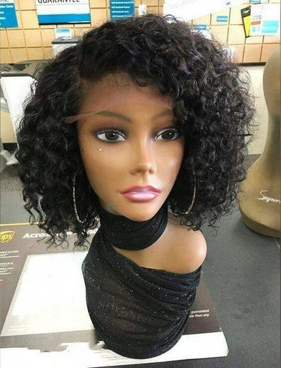 High quality lace front wig black Short wave wig natural hairline67