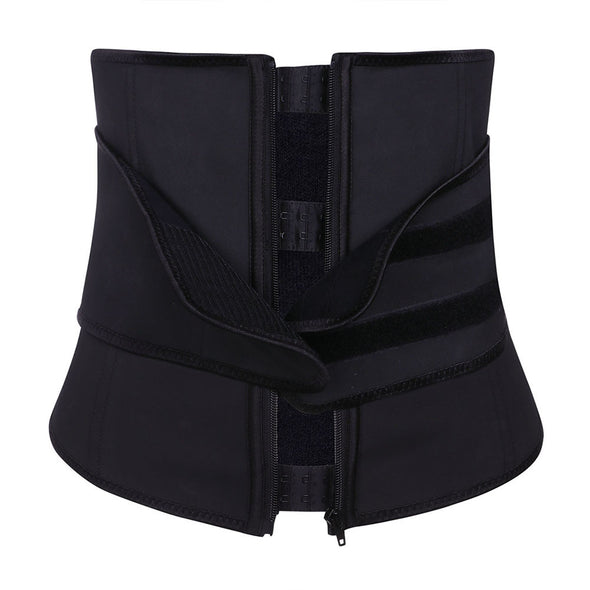 Zipper Hook Black Latex Waist Shaper Queen Size Midsection Compression
