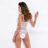 White Lace and Mesh Cut Out Teddy Lingerie