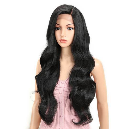 High quality lace front wig black wave 24 inch long wig natural hairline