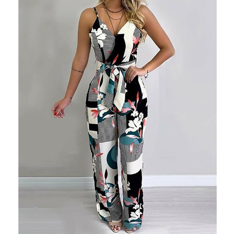 Women Holiday Casual Sleeveless Jumpsuits Fashion Boho Floral Bodysuit Wide Leg Loose Long Trousers