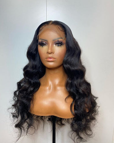 Curly Wigs Lace Frontal Long Black Wigs Indian Hair Bundles 22 24 26 Deep Wave Indian Remy Hair Wet And Wavy Mirkin Wig