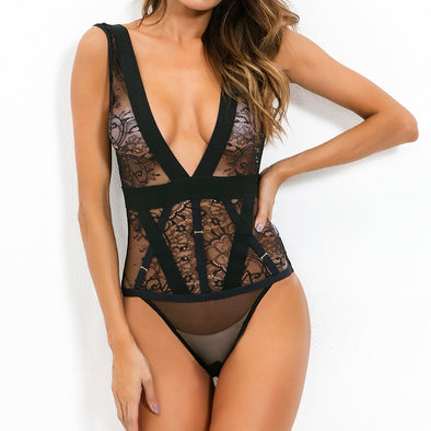 Black V-Neck Lace Teddy Lingerie