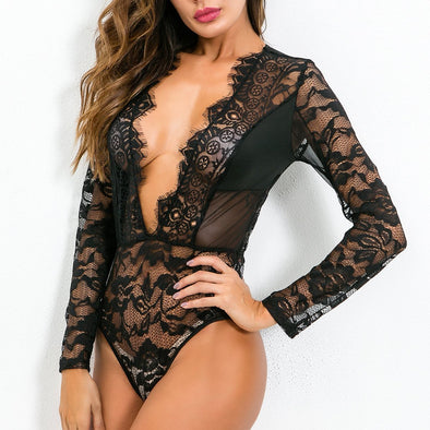 Long Sleeve Lace Deep-V Teddy Lingerie