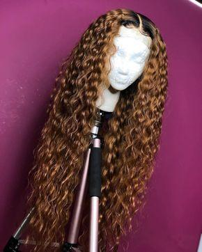 High quality lace front wig brown long wave wig natural hairline3