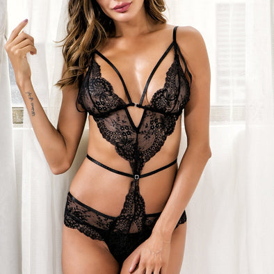 Black Lace Erotic Teddy Lingerie