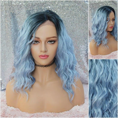 Silvery Blue Lace Front Wig, Dark Roots with Beach Waves, Cool Blue, Very Natural for Everyday Use, Cosplay