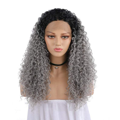 Gray Hair Double Color Wig Little Curly wig Woman Long Hair Wavy hair Lace front wig