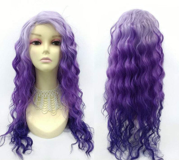 Long 24 inch Light and Dark Purple Lace Front Heat Resistant Long Deep Wave Wig. Side Part Wig