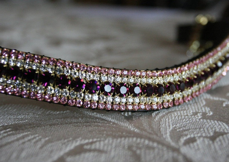 Amethyst, clear and light rose megabling curve browband