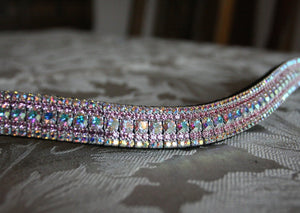 Iridescent and light rose megabling curve browband