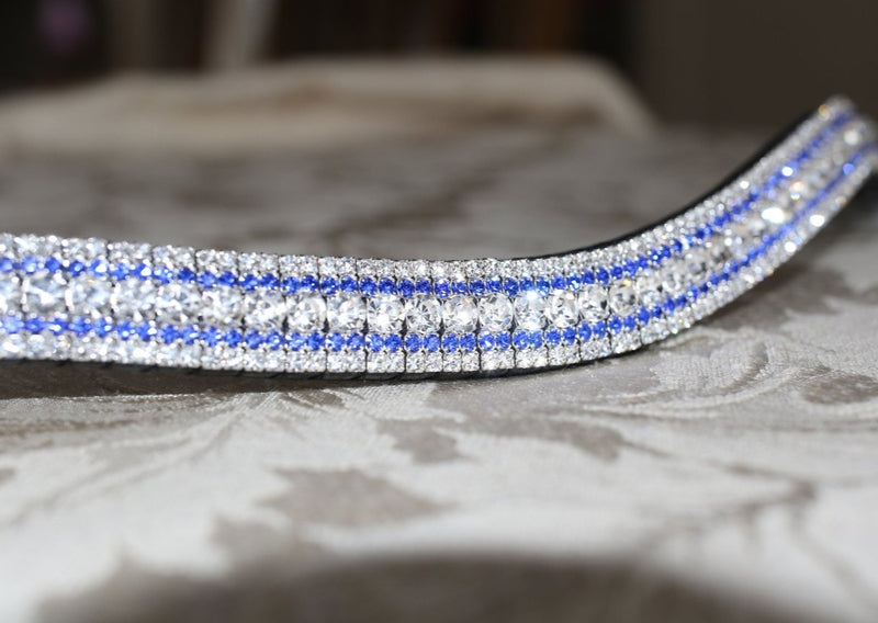 Clear and sapphire megabling curve browband